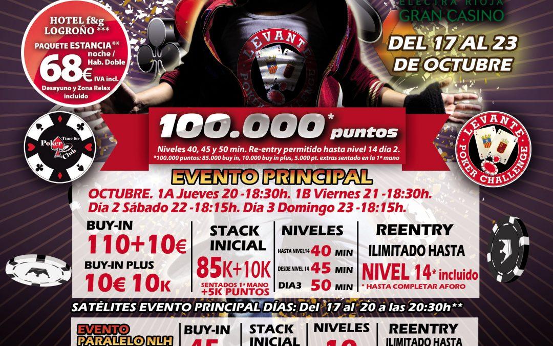 Electra Rioja Gran Casino acoge de nuevo otra etapa del Levante Poker Challenge en el mes de octubre