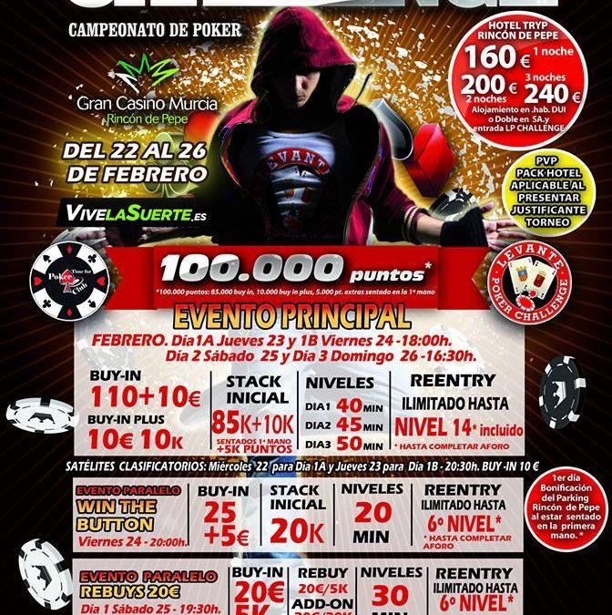 La segunda etapa del Levante Poker Challenge 2017 tendrá lugar en el Gran Casino Murcia