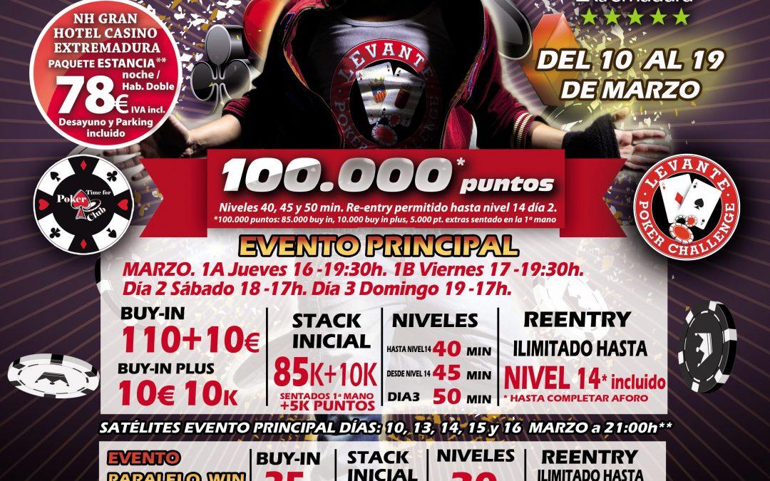 El Levante Poker Challenge llega al Gran Casino Extremadura en marzo con la tercera etapa del 2017