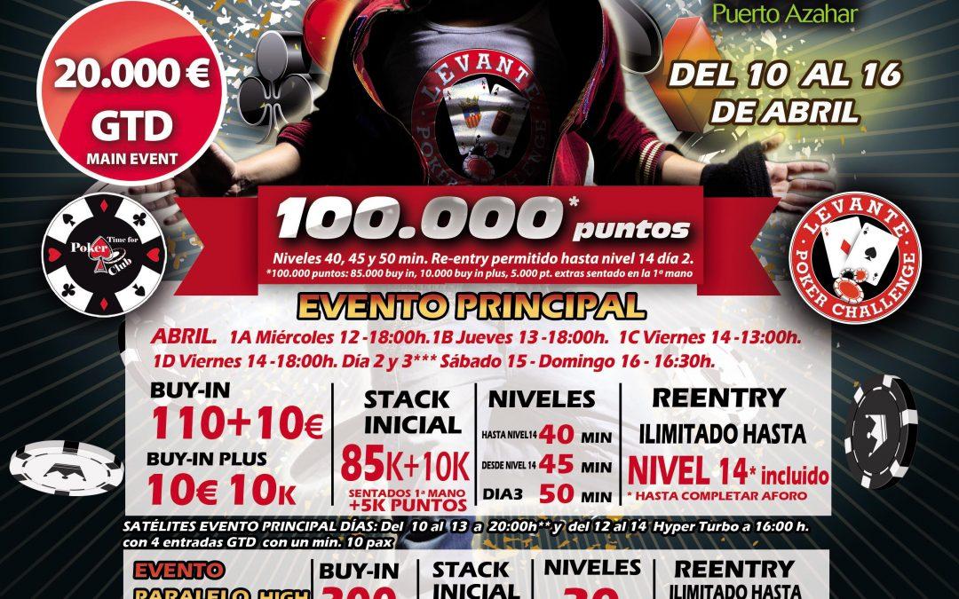 El Levante Poker Challenge de Semana Santa en el Gran Casino Castellón tendrá 4 eventos días 1 y 20.000€ garantizados