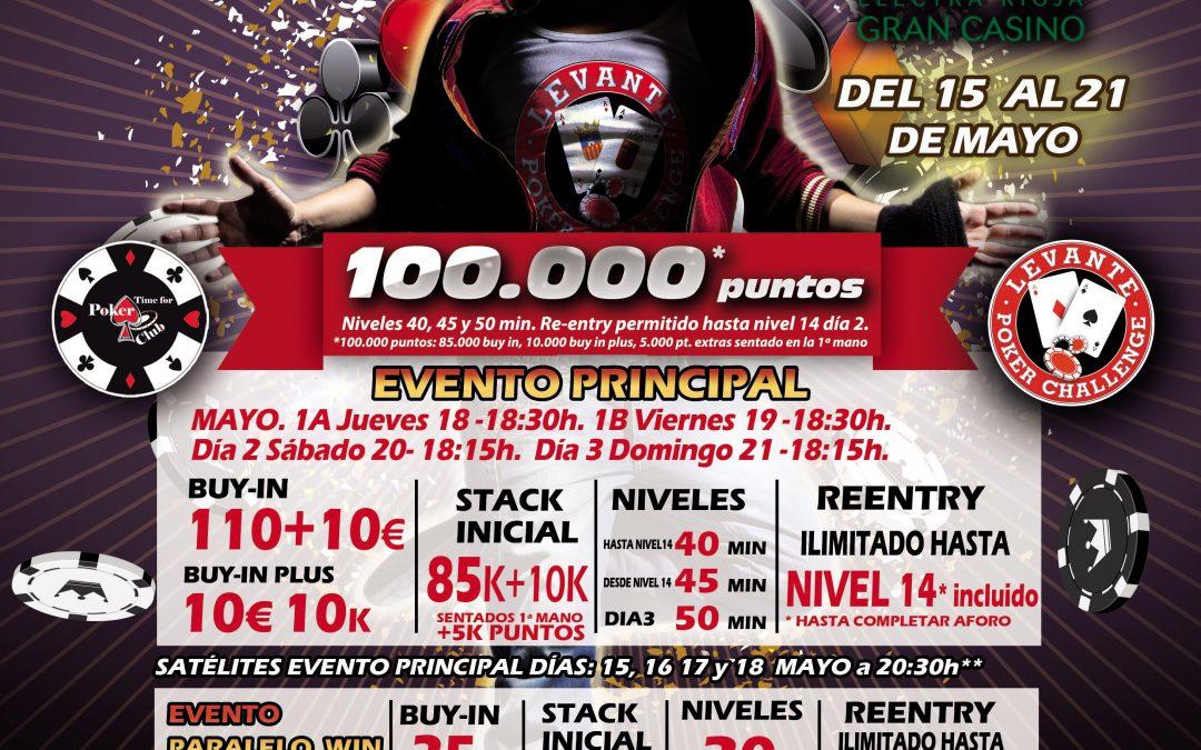 El Levante Poker Challenge de Electra Rioja Gran Casino se juega en mayo