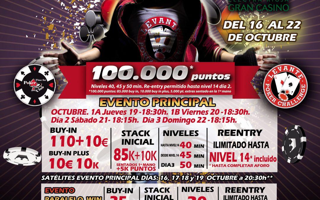 Electra Rioja Gran Casino recibe la segunda etapa especial del Levante Poker Challenge el 19 de octubre