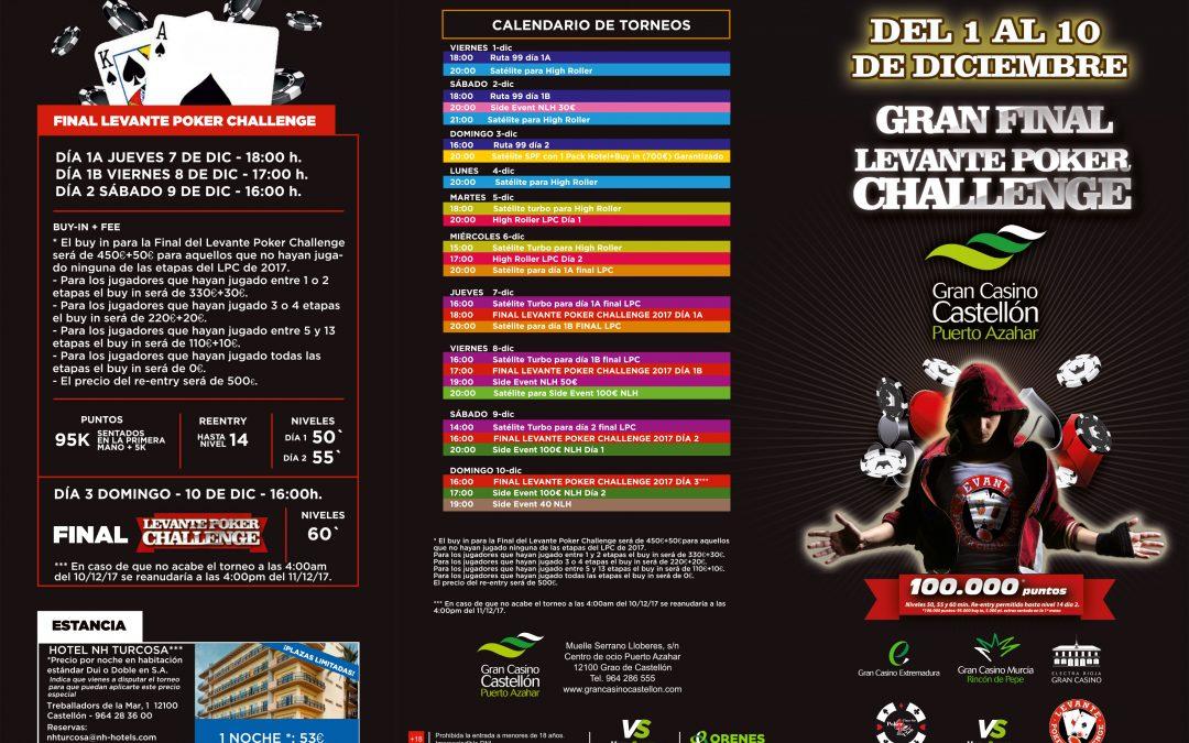 El Gran Casino Castellón prepara la Gran Final del Levante Poker Challenge de diciembre