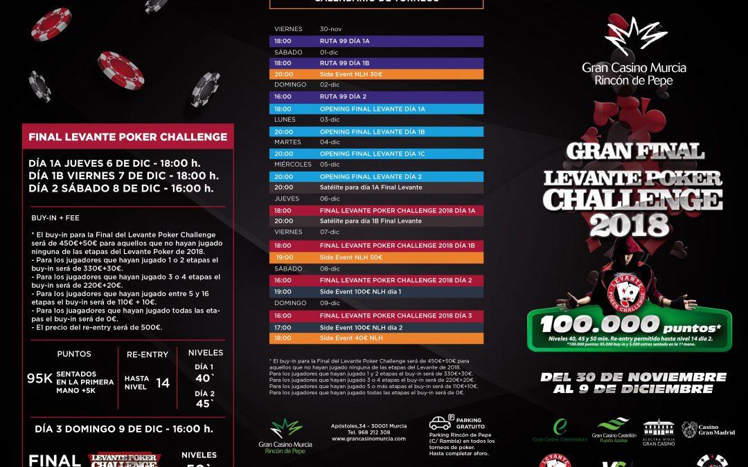 Gran Final Levante Poker Challenge 2018 en Gran Casino Murcia
