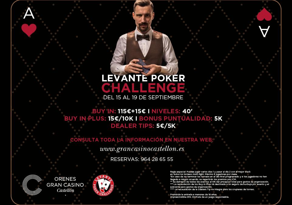 En septiembre nueva edición del Levante Poker Challenge en Orenes Gran Casino Castellón